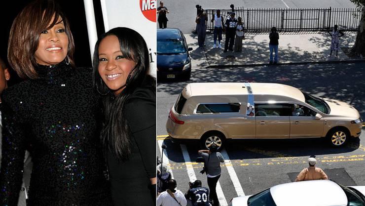 Bobbi Kristina Brown wurde neben ihrer Mutter Whitney Houston begraben. rechts: Der Leichenwagen verlässt den Schauplatz nach der Trauerfeier für Bobbi Kristina Brown in Newark.