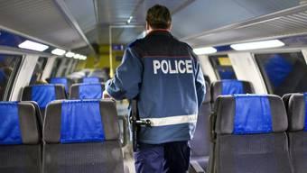 Ein Mitarbeiter der Bahnpolizei während einer Kontrolle (Symbolbild, Archiv)