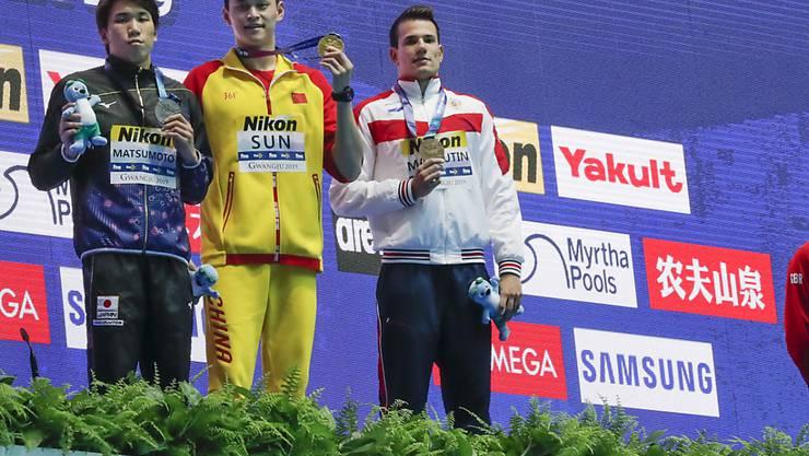 Sun Yang (Zweiter von links) wird sich in der Schweiz öffentlich erklären müssen