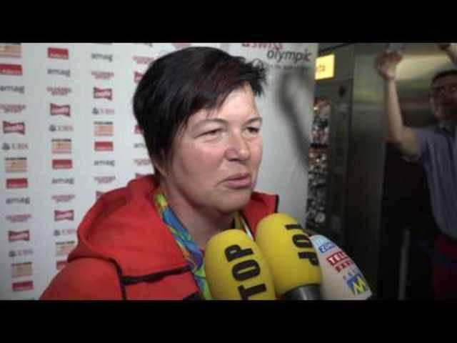 Der Empfang für Bronzemedaillengewinnerin Heidi Diethelm Gerber in Zürich