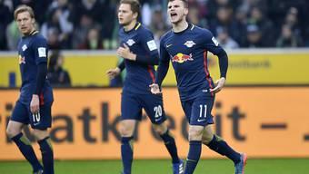 Timo Werner (rechts) bewies seine Goalgetter-Qualitäten auch gegen Mönchengladbach