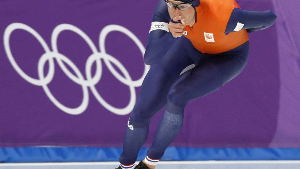 Der Niederländer Sven Kramer gewinnt zum dritten Mal in Serie Olympia-Gold über 5000 m.