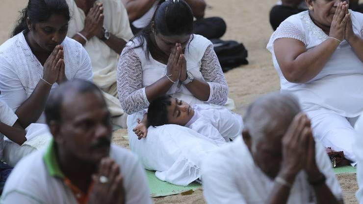 Buddhisten beten in Colombo für die Opfer der Anschläge.