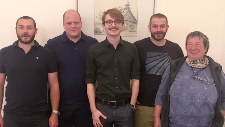 v.l.n.r. Markus Mörgeli (neu), Flavio Friedrich (neu), Mario Bonato (Präsident), Patrick Mörgeli (neu), Ursula Gysel (bisher)