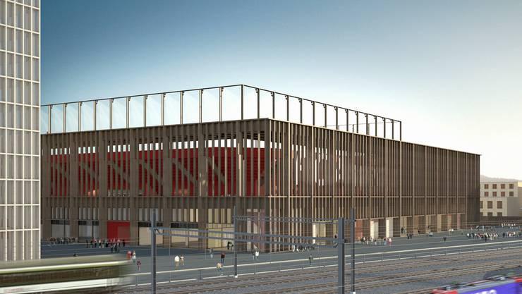Das neue Aarauer Fussballstadion im Torfeld Süd, Ansicht von Osten.
