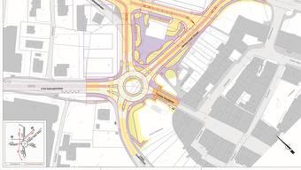 Fünf Ein- und Ausfahrten münden in den geplanten Kreisel.