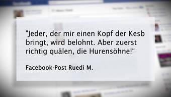 Eine der Drohungen, die der Kesb-Hasser auf Facebook postete.