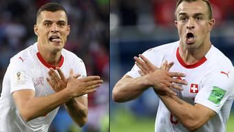 Sorgten mit dem Jubel nach ihren Toren gegen Serbien für hitzige Diskussionen: Granit Xhaka und Xherdan Shaqiri