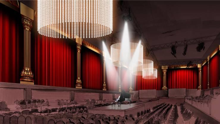 Der geplante Eventsaal des «Aura» bietet Platz für 500 Personen – bei Konzerten, Filmvorführungen oder auch Privatpartys.Visualisierung Zvg