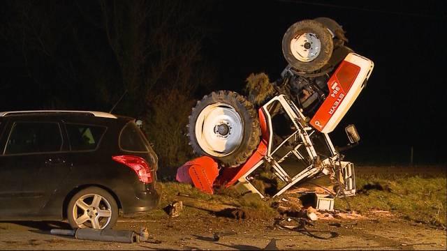 Traktor-Unfall fordert Baggereinsatz