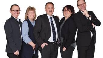 Kandidaten der FDP Obergösgen für die Gemeindratswahlen vom 21. Mai (vl.): Matthias Wirth, Carla Eng, Peter Frei (bisher, neu Kandidat für das Gemeindepräsidium), Jeannette Schärer (bisher) und Christian Hug.
