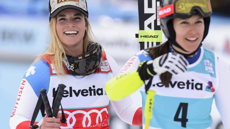 Ein grandioser Tag für die Schweizer Delegation: Neben Wendy Holdener auf Platz 1 schafft es auch Lara Gut mit Platz 3 auf das Podest der Super-Kombination.