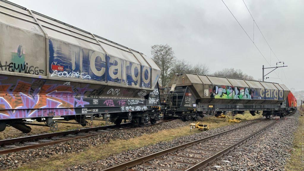 Ein Güterwagon entgleist in Schaffhausen