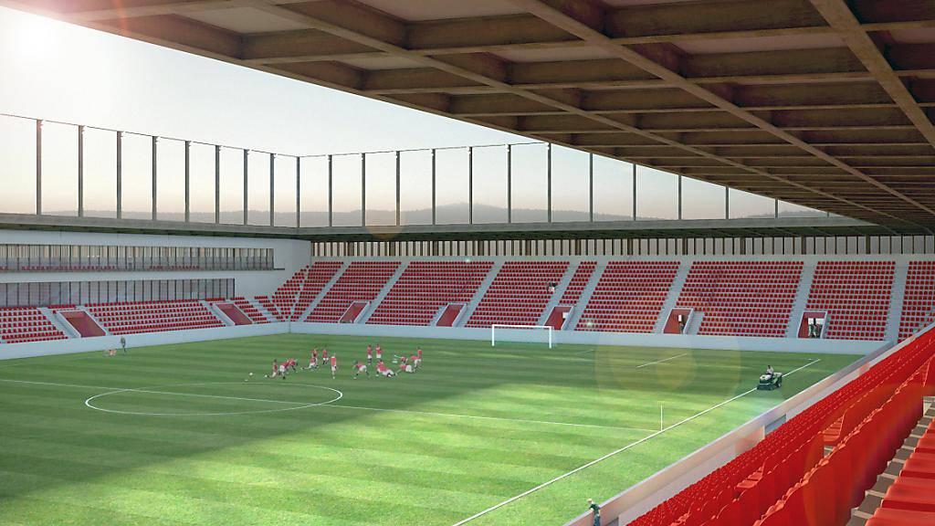 Besteht erst auf dem Papier: Das neue Fussballstadion in Aarau soll ohne Einkaufszentrum gebaut werden. Drei Hochhäuser sollen nun die Querfinanzierung sichern.