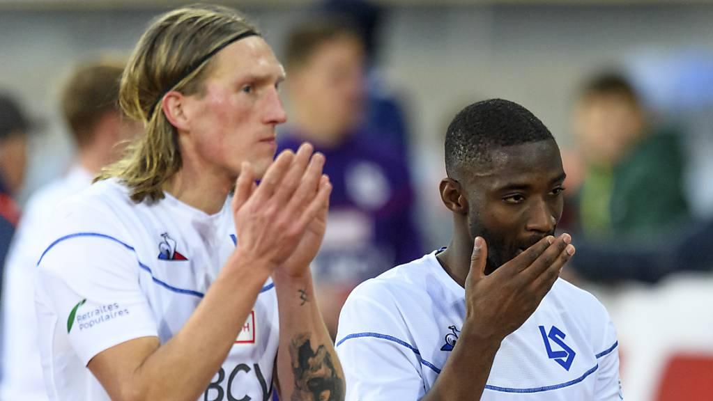 Enttäuschung bei den Lausannern Per-Egil Flo (links) und Anthony Koura nach der Niederlage gegen Vaduz