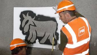 """Graffiti-Künstler Pirmin Breu (rechts) an der Arbeit im Ruckhalde-Tunnel der Appenzeller Bahn in St. Gallen. Dort entsteht auf einer Länge von 700 Metern der """"längste Alpaufzug der Welt""""."""