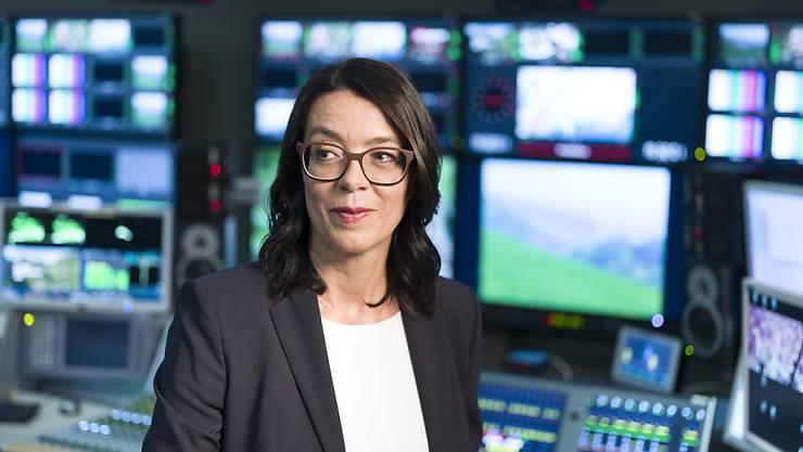 Muss Kurzarbeit für Teile der Belegschaft beantragen: Die stellvertretende SRG-Generaldirektorin Nathalie Wappler, hier in einem Studio in Zürich. (Archivbild)