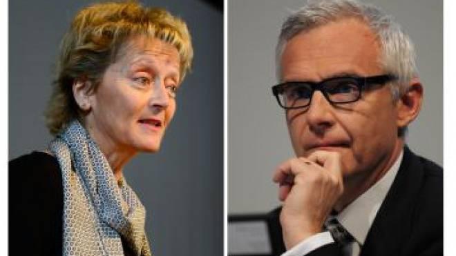 Bundesrätin Eveline Widmer-Schlumpf, CS-Präsident Urs Rohner. Foto: Key