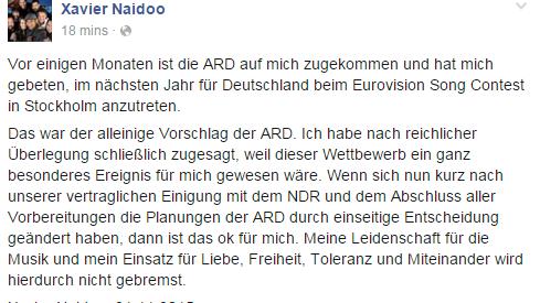 Xavier Naidoo nicht am Eurovision Song Contest