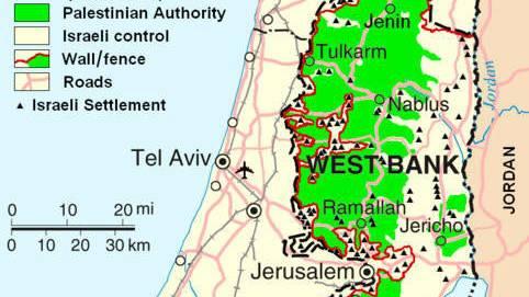 Die palästinensischen Autonomiegebiete – Stand heute.