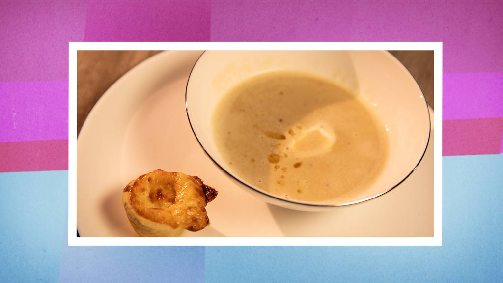 Die Vorspeise: Geräucherte Marroni-Suppe mit Chäschüechli