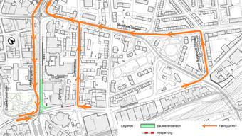 Damit die Fahrbahn in Fahrtrichtung Aeschenplatz fertiggestellt werden kann, wird der Aeschengraben am kommenden Wochenende gesperrt sein.