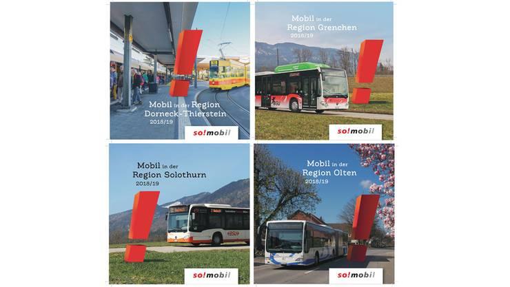 Die vier Regionalausgaben: 'Mobil in der Region Solothurn', 'Mobil in der Region Grenchen', 'Mobil in der Region Olten' und 'Mobil in der Region Dorneck-Thierstein.