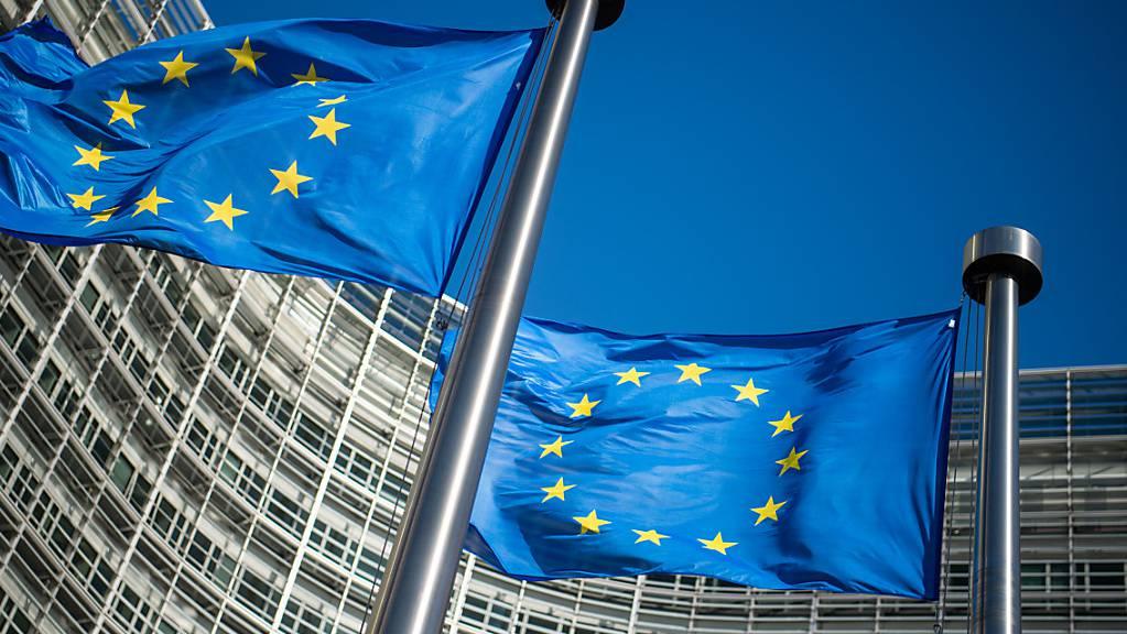 ARCHIV - EU-Flaggen vor dem Sitz der Europäischen Kommission in Brüssel. Foto: Arne Immanuel Bänsch/dpa