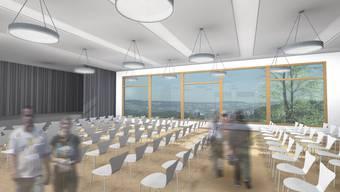Die Aula im neuen Mehrzweckgebäude Schule bietet Platz für rund 200 Personen.