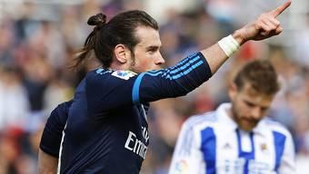 Real Madrids Gareth Bale jubelt nach dem Siegestor in San Sebastian