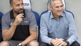 Lugano-Trainer Pierluigi Tami (rechts) und Assistent Walter Samuel erhalten Verstärkung für die Offensive