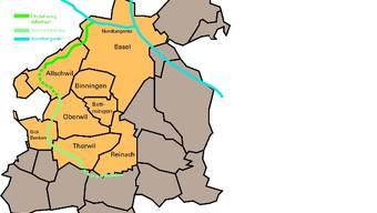 Projektideen: Die Basler Bürgerlichen wollen den Anschluss Allschwil an die Nordtangente, die Linke nicht. Der Zubringer Allschwil wie auch die sogenannte Südumfahrung stecken planerisch noch in den Kinderschuhen. GRafik bz
