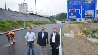 (Von links) Adrian Schaad, Projektleiter und zuständig für die Umgestaltungsmassnahmen Wangen, Thomas Pareth, Leiter Realisierung, und Markus Spring, stellvertretender Gesamtprojektleiter ERO.