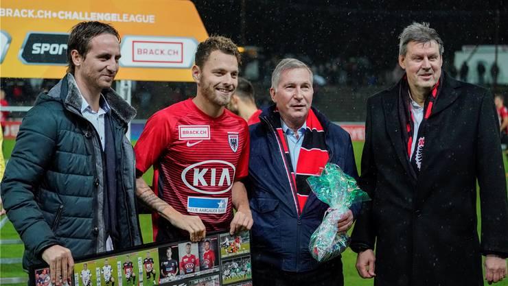 Roger Geissberger (r.), Vizepräsident FC Aarau: «Ich bin guter Dinge, dass wir das hinkriegen und Stefan Maierhofer auch in der nächsten Saison Tore für den FCA erzielen wird.»
