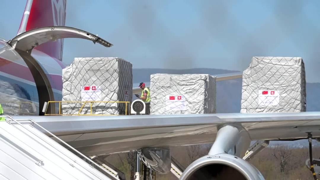 Ein Flugzeug mit medizinischen Hilfsgütern ist in Genf gelandet (6.4.2020)