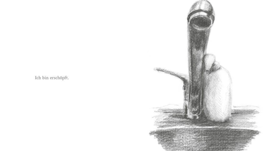 Wer hat sie nicht erfahren, diese Erschöpfung in Zeiten der Pandemie? Der Wortwitz und die Melancholie der Ostschweizer Illustratorin Pascale Osterwalder macht diesen Seifenspender in seiner Menschlichkeit sympathisch.