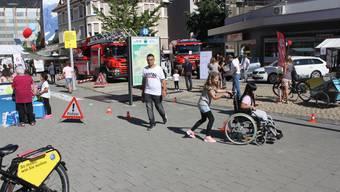 Rollstuhlparcours am Mobilitätstag 2019 in Grenchen