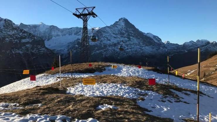 Typisches Bild für den letzten Dezember: Kaum Schnee im Messfeld Grindel auf 2000 Metern über Meer in Grindelwald.