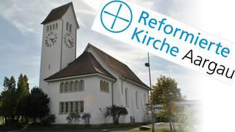 So sieht die sogenannte «Wort-Bild-Marke» der Reformierten im Aargau aus. Links: Die reformierte Kirche in Frick.