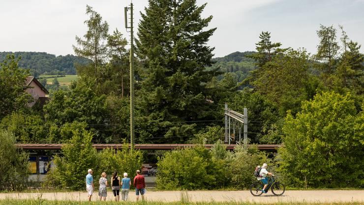 Neben der bestehenden Antenne entsteht beim Bahnhof Weihermatt eine 12 Meter höhere Anlage.
