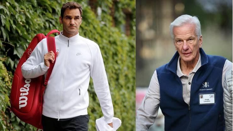 Roger Federer, dankbarer Trainingsgast und Jorge Paulo Lemann, Rasenplatz-Besitzer.