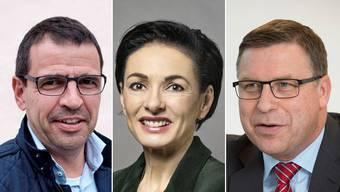 Matthias Jauslin (FDP), Marianne Binder (CVP) und Martin Keller (SVP).