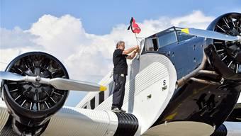 Am 17. August hat die Ju-Air den Flugbetrieb in Dübendorf wieder aufgenommen. Im Bild eine der Ju-52-Maschinen, die damals zu einem Rundflug starteten.