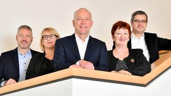 Jahresmedienkonferenz 2019 Stadt Stadtrat Olten mit v.l. Thomas Marbet, Marion Rauber, Stadtpräsident Martin Wey, Iris Schelbert und Benvenuto Savoldelli.