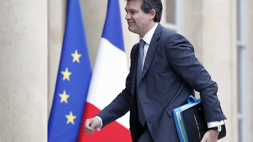 So nah am Ziel ist Arnaud Montebourg noch nicht: Hier vor dem Eingang zum Elysée-Palast, dem Amtssitz des französischen Präsidenten in Paris. (Aufnahme vom Mai 2014, als er noch Minister war)