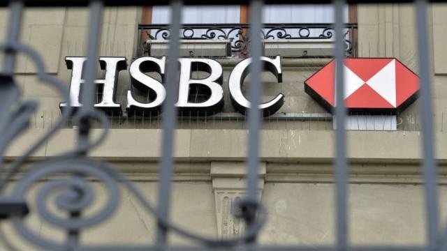 Blick auf das HSBC-Logo am Sitz der Bank in Genf