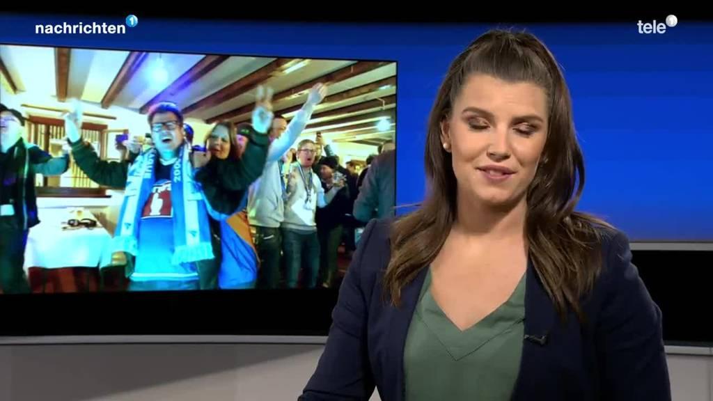 Fans feiern im FCL-Stübli