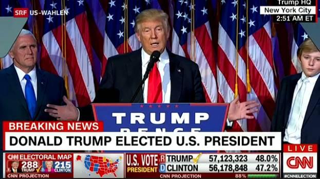 """Trump verspricht an der Wahlparty in New York: """"Ich werde ein Präsident für alle Amerikaner sein."""""""