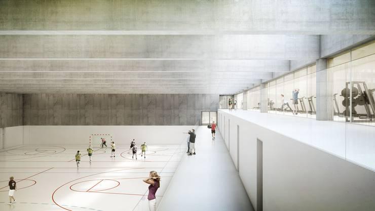 So wird die unterirdische Dreifachsporthalle der Kantonsschule Wettingen aussehen. Geräteräume, Garderoben und Krafträume liegen terrassenförmig übereinander.