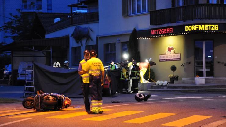 Am Sonntagabend kam es in Buchs in der scharfen Kurve zu einem schweren Verkehrsunfall